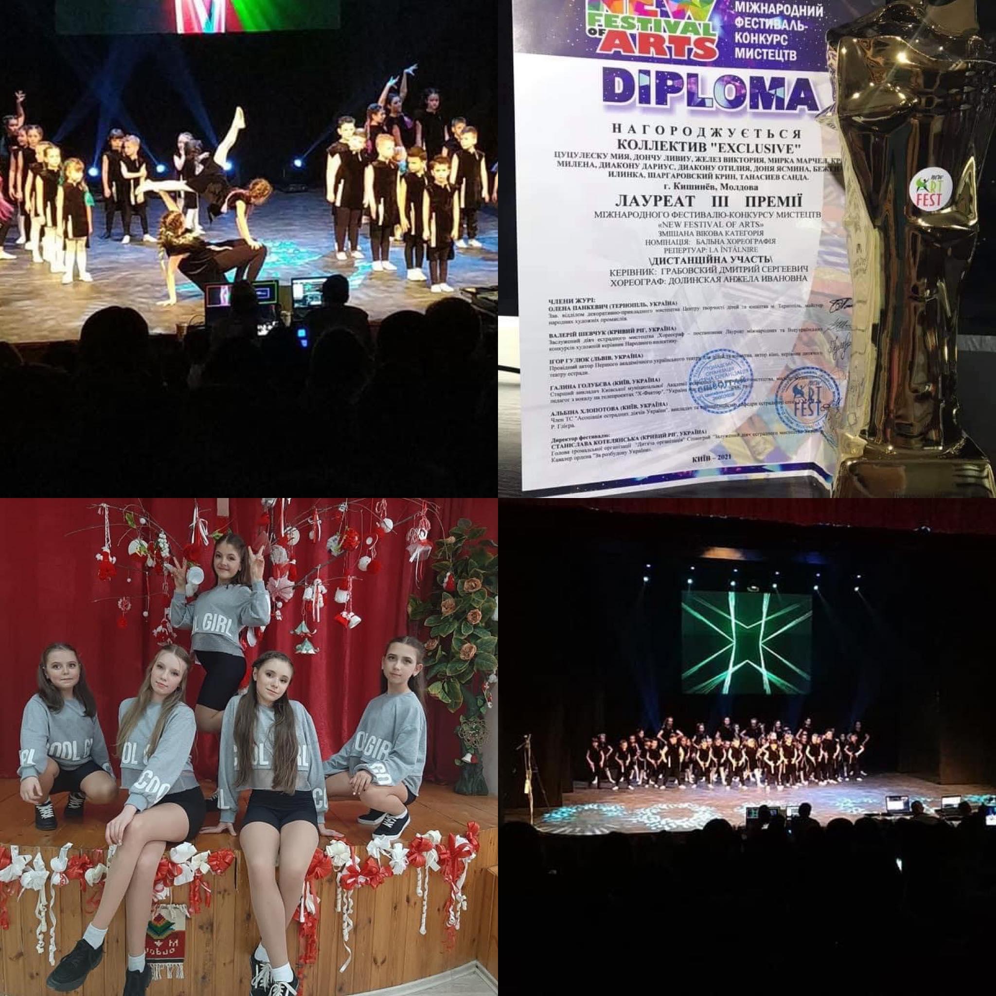 Grupul de dans Exclusive Dance Studio, a câștigat premii la concursul international New Fetival Arts